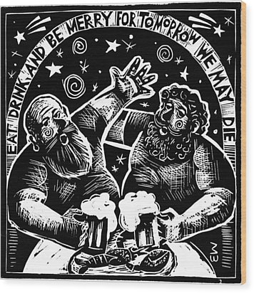 Wood Print featuring the drawing American  Proverbs by Mikhail Zarovny