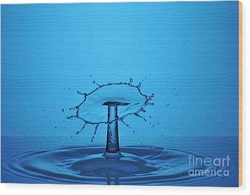 Splashing Water Droplet Wood Print by Sami Sarkis