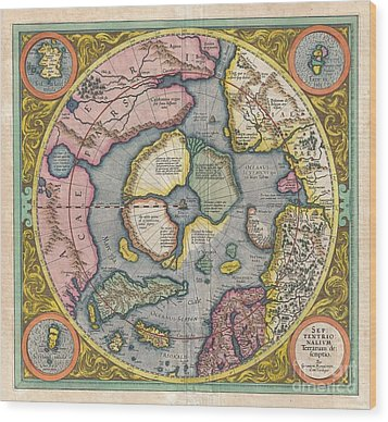 1606 Mercator Hondius Map Of The Arctic Wood Print by Paul Fearn