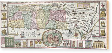 1632 Tirinus Map Of The Holy Land Wood Print by Paul Fearn