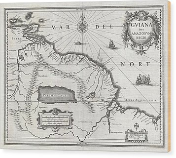 1635 Blaeu Map Guiana Venezuela And El Dorado Wood Print by Paul Fearn