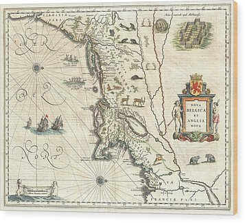 1635 Blaeu Map Of New England And New York Wood Print by Paul Fearn