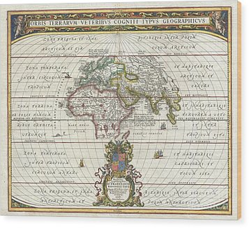 1650 Jansson Map Of The Ancient World Wood Print by Paul Fearn