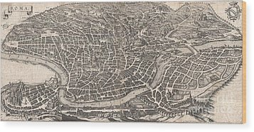1652 Merian Panoramic View Or Map Of Rome Italy Wood Print by Paul Fearn