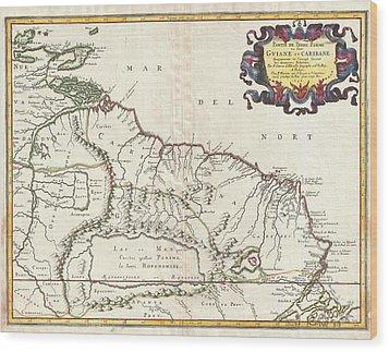 1656 Sanson Map Of Guiana Venezuela And El Dorado Wood Print by Paul Fearn