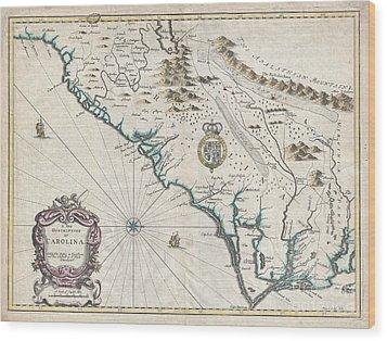 1676 John Speed Map Of Carolina Wood Print by Paul Fearn