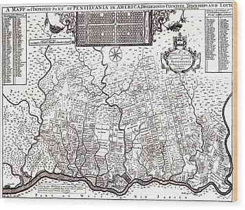 1687 Pennsylvania Map Wood Print by Bill Cannon
