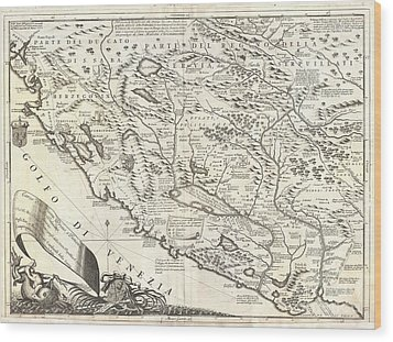 1690 Coronelli Map Of Montenegro Wood Print by Paul Fearn