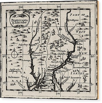 1690 Pennsylvania Map Wood Print by Bill Cannon