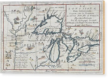 1696 Coronelli Map Of The Great Lakes Wood Print by Paul Fearn