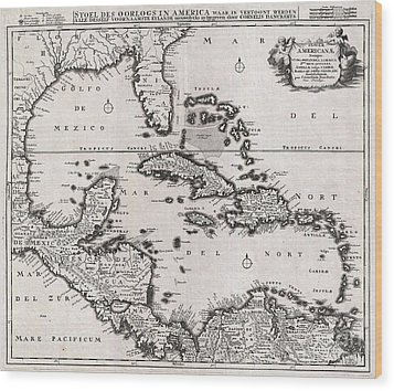 1696 Danckerts Map Of Florida The West Indies And The Caribbean Wood Print by Paul Fearn