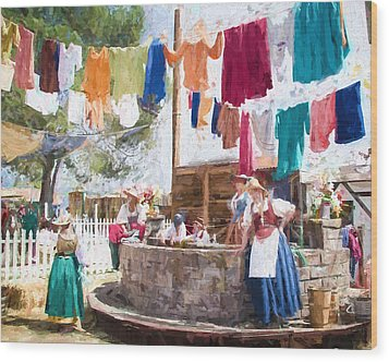 Wood Print featuring the painting 16th Century Washday by Ike Krieger
