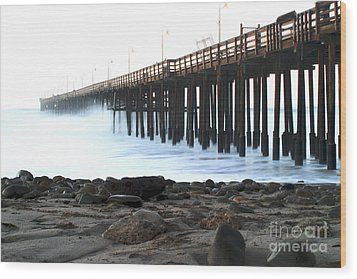 Ocean Wave Storm Pier Wood Print by Henrik Lehnerer