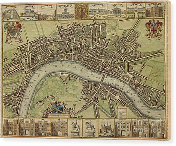 17 Th Century Map Of London England Wood Print by Melissa Messick