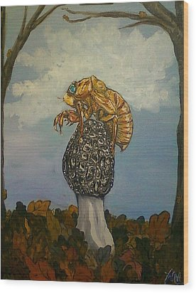 17 Year Cicada With Morel Wood Print by Alexandria Weaselwise Busen