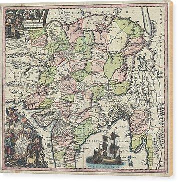 1700 Map Of India Wood Print