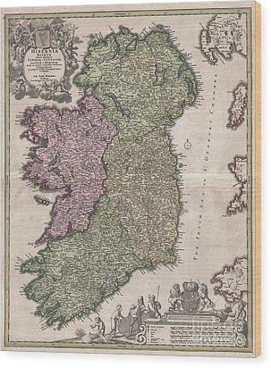 1716 Homann Map Of Ireland Wood Print by Paul Fearn