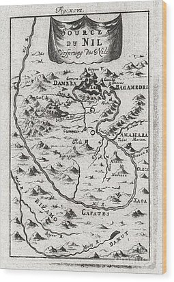1719 Mallet Map Of The Source Of The Nile Ethiopia Wood Print by Paul Fearn