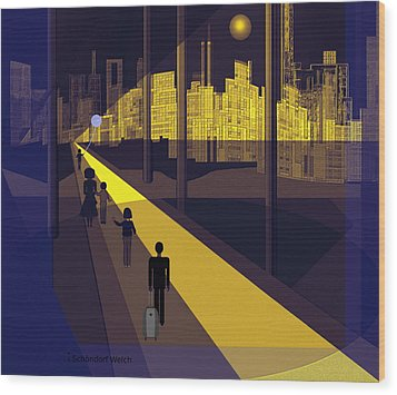 172 -  Nightwalking To The Golden City  Wood Print by Irmgard Schoendorf Welch