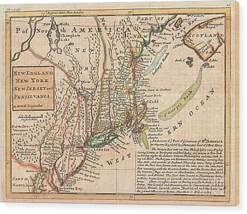 1729 Moll Map Of New York New England And Pennsylvania  Wood Print by Paul Fearn