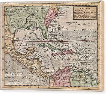 1732 Herman Moll Map Of The West Indies And Caribbean Wood Print by Paul Fearn