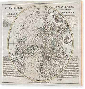 1741 Covens And Mortier Map Of The Northern Hemisphere  North Pole Arctic Wood Print by Paul Fearn