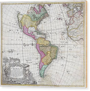 1746 Homann Heirs Map Of South And North America Wood Print by Paul Fearn