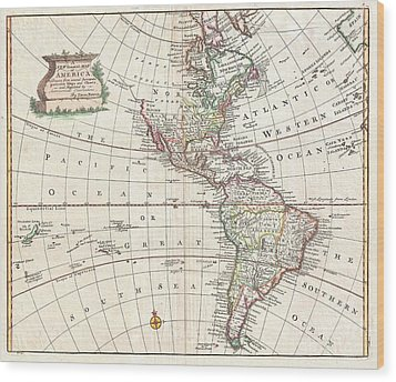 1747 Bowen Map Of North America And South America Wood Print by Paul Fearn
