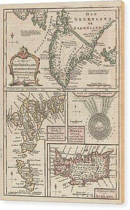 1747 Bowen Map Of The North Atlantic Islands Greenland Iceland Faroe Islands Wood Print by Paul Fearn