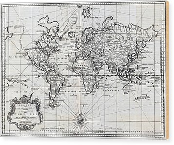 1748 Antique World Map Versuch Von Einer Kurzgefassten Karte  Wood Print by Karon Melillo DeVega