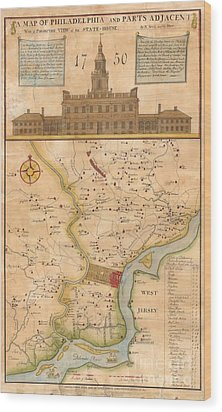 1752  Scull  Heap Map Of Philadelphia And Environs Wood Print by Paul Fearn