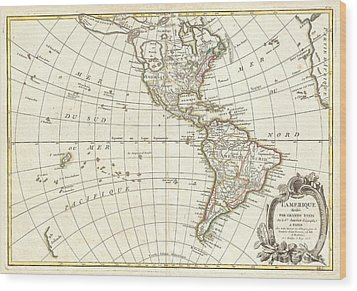 1762 Janvier Map Of North America And South America  Wood Print by Paul Fearn