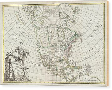 1762 Janvier Map Of North America  Wood Print by Paul Fearn