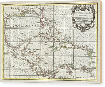 1762 Zannoni Map Of Central America And The West Indies Wood Print by Paul Fearn