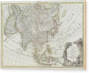 1770 Janvier Map Of Asia Wood Print by Paul Fearn