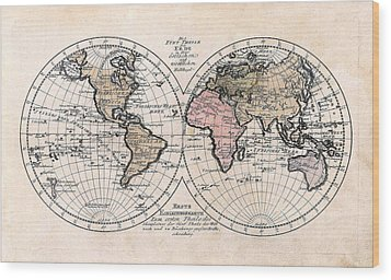 Wood Print featuring the photograph 1791 Antique World Map Die Funf Theile Der Erde by Karon Melillo DeVega