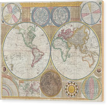 1794 Samuel Dunn Wall Map Of The World In Hemispheres Wood Print by Paul Fearn