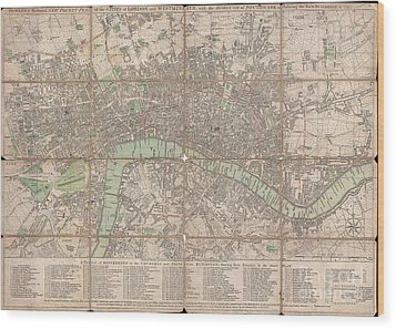 1795 Bowles Pocket Map Of London Wood Print by Paul Fearn