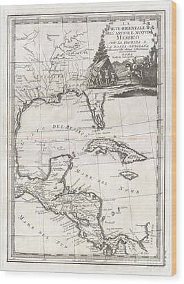 1798 Cassini Map Of Florida Louisiana Cuba And Central America Wood Print by Paul Fearn