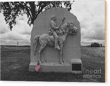 17th Pennsylvania Cavalry Monument Gettysburg Wood Print by James Brunker