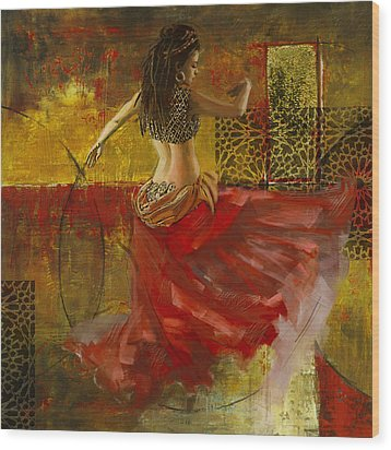 Abstract Belly Dancer 6 Wood Print