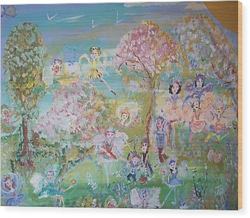18 Fairy Party In Fairyland Wood Print by Judith Desrosiers
