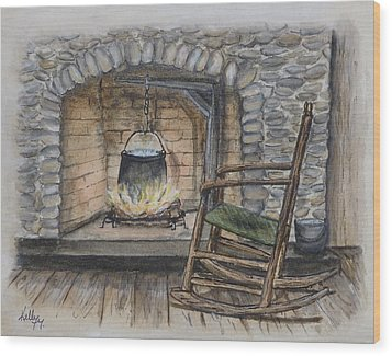 1800s Cozy Cooking .... Fire Place Wood Print by Kelly Mills
