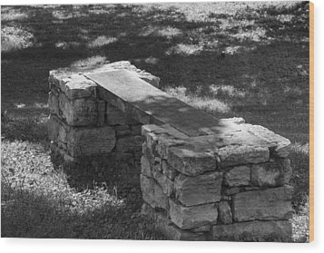 Wood Print featuring the photograph 1800's Stone And Wood Bench by Robert Hebert