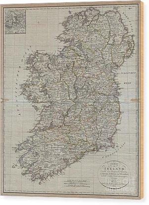 1804 Jeffreys And Kitchin Map Of Ireland Wood Print by Paul Fearn