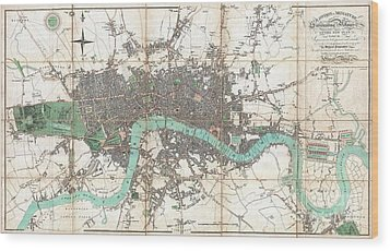 1806 Mogg Pocket Or Case Map Of London Wood Print by Paul Fearn