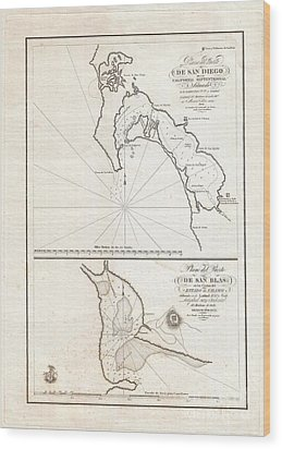 1825 Victoria Map Of San Diego California And San Blas Mexico  Wood Print by Paul Fearn