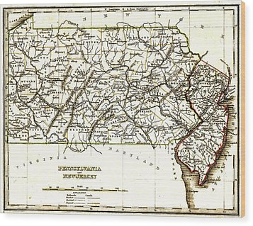 1835 Pennsylvania And New Jersey Map Wood Print by Bill Cannon