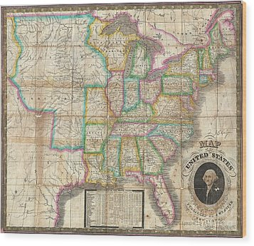 1835 Webster Map Of The United States Wood Print by Paul Fearn