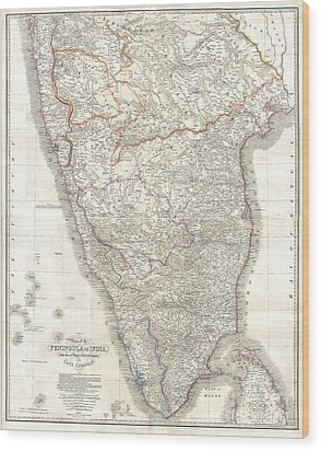 1838 Wyld Wall Map Of India Wood Print by Paul Fearn